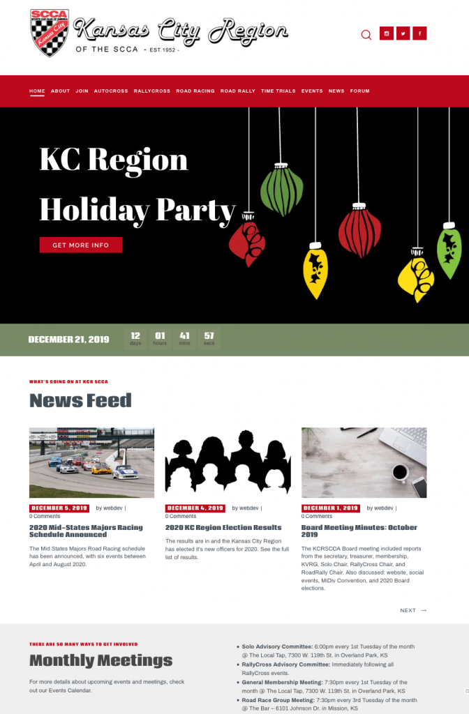 KCR SCCA website home page
